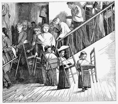 Shaker community going to dinner, each carrying their own Shaker chair, New York State, 1870.
